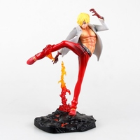 One Piece PVC Figure 23 CM POP Sanji Battle Ver. Fire Action Figure One Piece Collectible Model Toy For Boys Kids Gift
