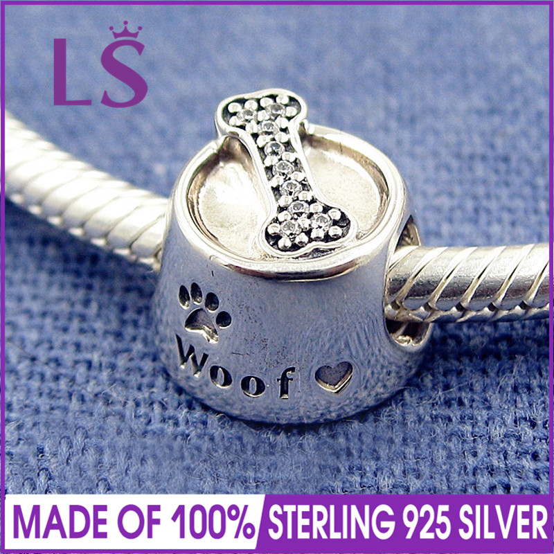 LS High Quality 100% Real S925 Silver Woof, Clear CZ Charm Beads Fit Original Bracelets Pulseira Encantos. 100% Fine Jewlery