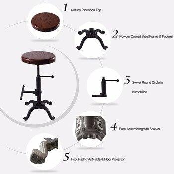 Retro Barhocker | Stuhl Industrielle Möbel Vintage Rustikalen Retro Hocker Swivel Bar Stuhl Gusseisen Einstellbare Höhe Holz Sitz Barhocker
