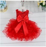 Bebê batismo das meninas vestidos de inverno 2017 pérola recém-nascidos infantil princess dress big bow criança crianças festa de aniversário da menina dress vermelho
