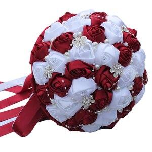 Image 5 - WifeLai Ramos De Novia Burgundyสีแดงสีขาวคริสตัลเจ้าสาวที่กำหนดเองประดิษฐ์ดอกไม้เพื่อนเจ้าสาวWedding Bouquet W224A 2