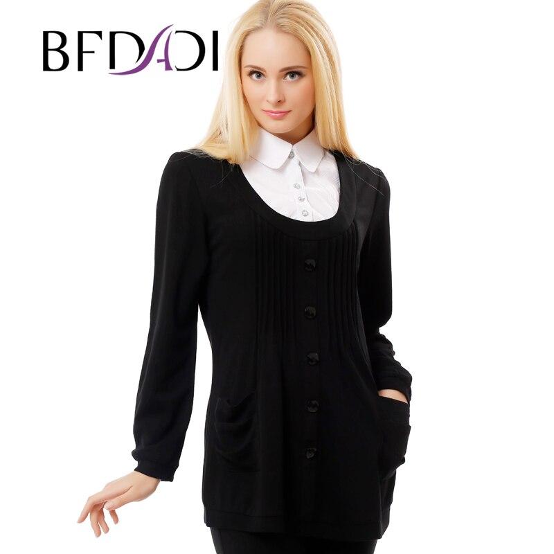 BFDADI 2016 Spring Women casual t shirt fashion Stitching shirt collar Loose plus size long sleeve