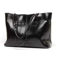 Leather Big Bags Woman Split Leather Practical Female Shoulder Bags Simple Solid Color Ladies Crossbody Bag