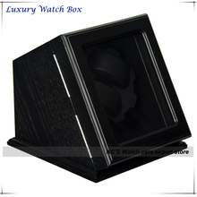 High Quality Box 2 Watches Wood Automatic Watch Winder for RLX with Lock Burlwood grain Black