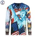 Mr.1991INC North America Fashion Men's 3d Shirts Print USA Flag And The Statue of Liberty Long Sleeve Blouse V-neck Tees Shirts