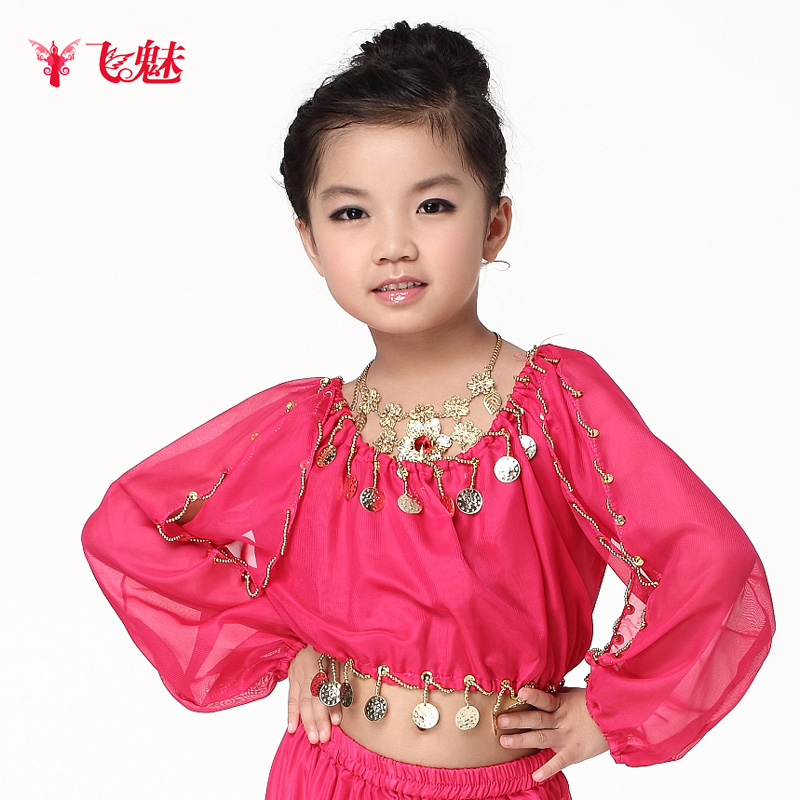 Children's Clothing New Arrival Child Belly Dance Lantern Long-sleeve Chiffon Top Performance Wear Practice Service
