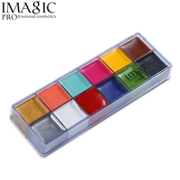 1 Set Body Painting Flash Tattoo 12 Colors Face Paint Palette Halloween Makeup Temporary Tatoos Glowing