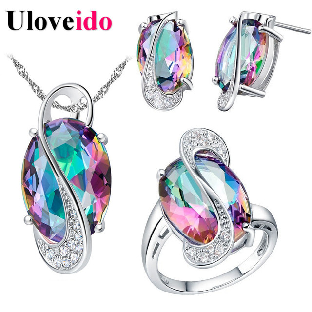 50% Off Uloveido Wedding Jewelry Sets for Women Brides Stud Earrings Ring Neckla