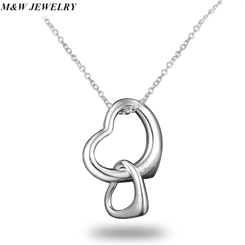 M&W JEWELRY burst paragraph ladies double loving plating silver pendant necklace hot sale jewelry recommended