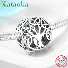 Hot sale 925 Sterling Silver Openwork Tree of life Charm Beads Fit Original Pandora Bracelet Necklace Jewelry Making(China)