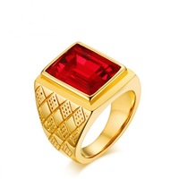 316L Stainless steel red stone ring 18MM personality boomer ring J238