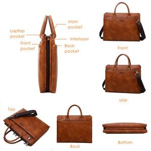 Image 3 - JEEP BULUO maletines de alta calidad para hombres, Set para portátil de 14 pulgadas, bolsos de negocios, bolsos de hombro de cuero para oficina, gran capacidad