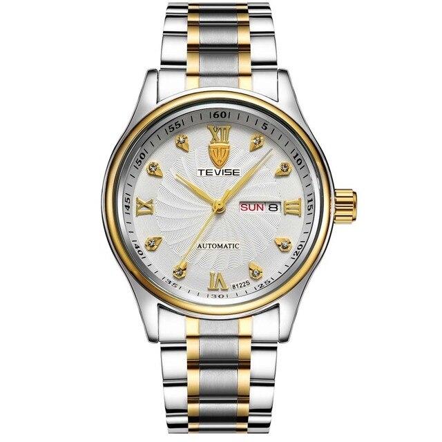 Tevise relojes originales de acero inoxidable banda de cuarzo reloj de pulsera hombres de marca mujeres impermeables coule amantes regalo de cumpleaños
