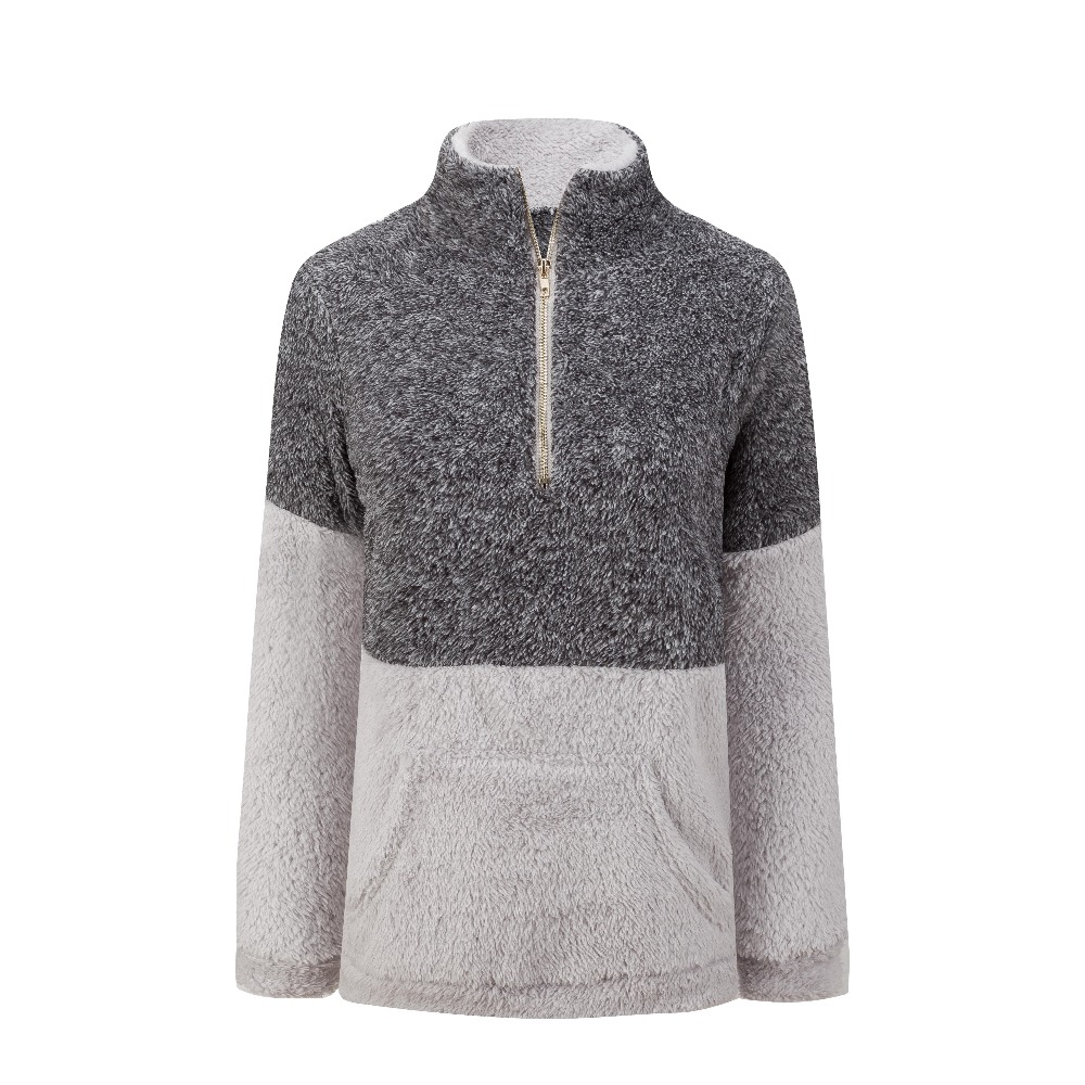Whitive Womens Soft Sherpa Warm Fuzzy Leisure Pullover Pullover Sweatshirt