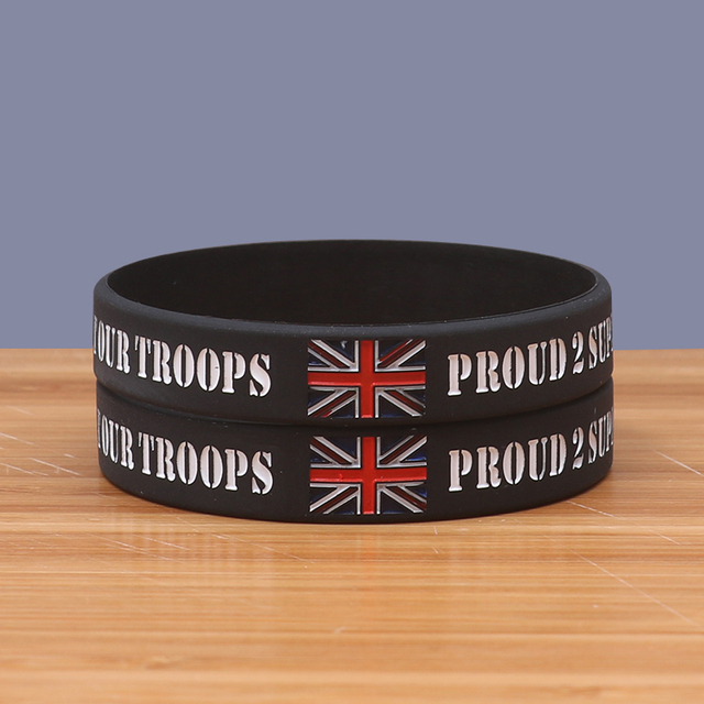 Proud 2 Support Our Troops Silicone Wristbands Black Supporting The A B F Solrs Charity Bracelets