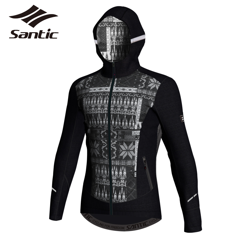 Santic Winter Jacket Men Cotton Cycling Jacket Outdoor Windproof Coats Jackets Keeping Warm 3D Layer Skill Bike Bicycle Jacket