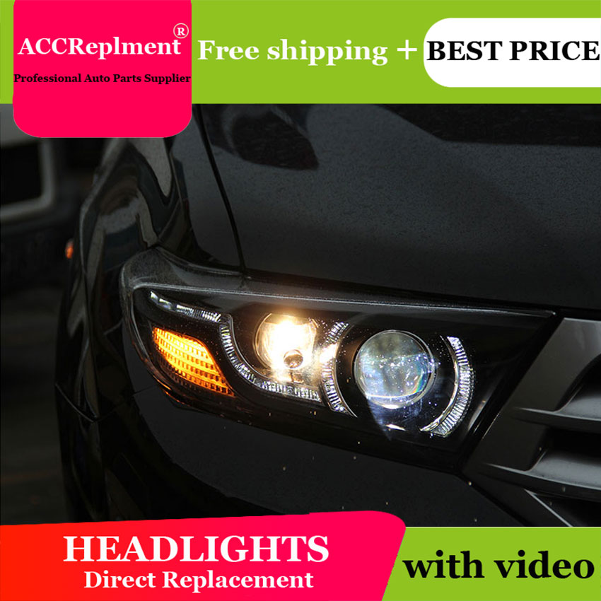 Car Styling For Toyota Highlander headlights 2009-2012 For Highlander LED headlight led drl H7 hid Q5 Bi-Xenon Lens low beam yeats 1400lm 24w led fog lamp high beam low beam 560lm drl case for toyota highlander 2009 11 2014 automatic light sensitive