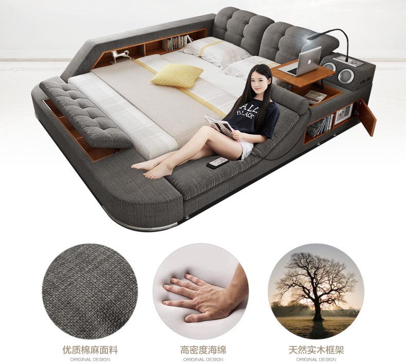 Bed Massage Cloth Furniture-Cama Soft-Beds Home Bedroom Modern Fabric America Europe