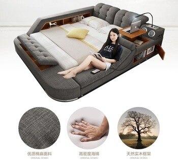 Europe and America fabric cloth bed massage Modern Soft Beds Home Bedroom Furniture cama muebles de dormitorio / camas quarto peugeot 307 aksesuar