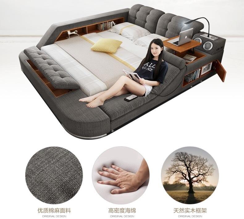 America:  Europe and America fabric cloth bed massage Modern Soft Beds Home Bedroom Furniture cama muebles de dormitorio / camas quarto - Martin's & Co