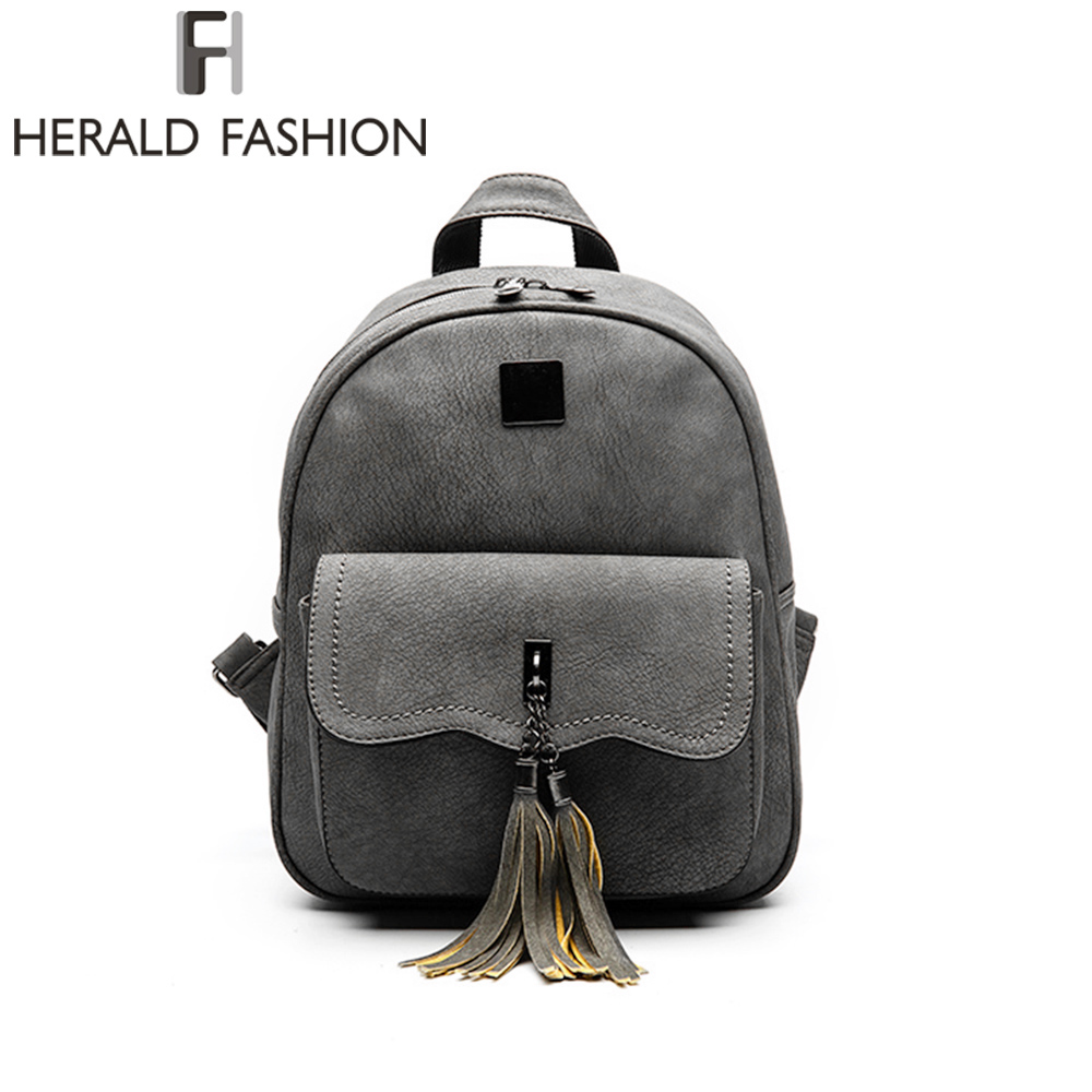 Herald Fashion Tassel Backpack Women PU Leather School Backpacks For Teenage Girls Vintage Feminine Backpack Casual Mochila vintage tassel women backpack nubuck pu leather backpacks for teenage girls female school shoulder bags bagpack mochila escolar