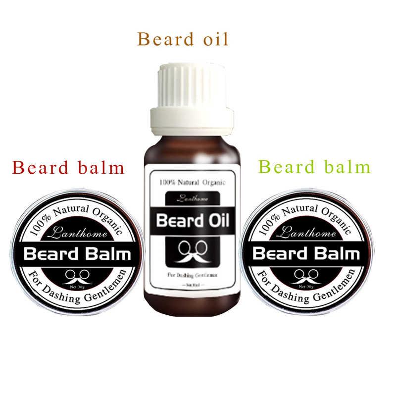 Lanthome hommes Kit de toilettage barbe huile naturelle revitalisant baume bio barbe croissance revitalisant laisser dans le style messieurs utilisé