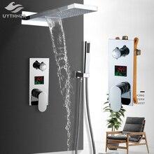 Uythner ścienny łazienka deszcz wodospad zestaw prysznicowy z kranem ukryty chromowany System prysznicowy do wanny i prysznica mikser kran z kranu