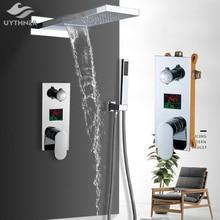 Uythner duvara monte banyo yağmur şelale duş musluk seti gizli krom duş sistemi küvet duş mikser musluk dokunun