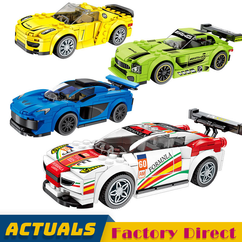 4 Sets Lot Technic City Classic Supercar Racing Car Sembo Building Block for Children Boy Gift
