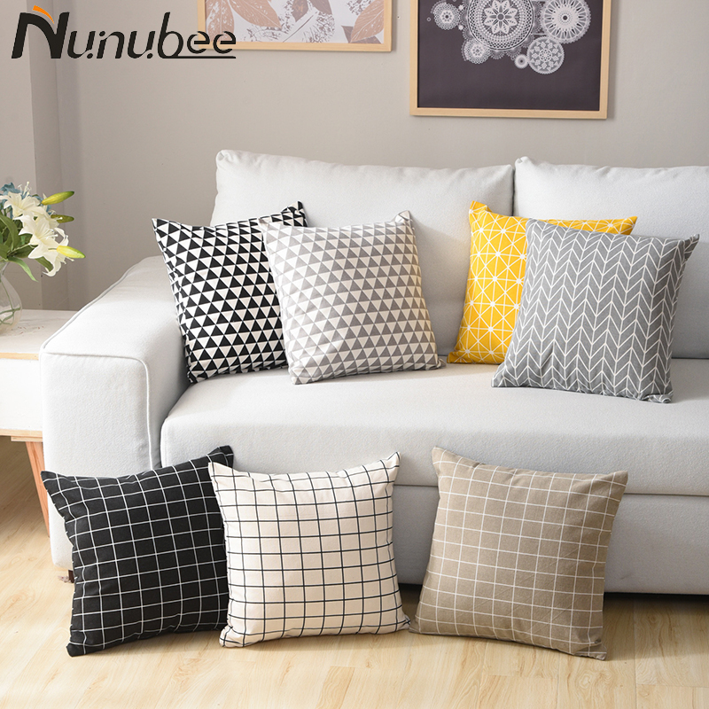Nunubee White Decorative Cushion Cover Geometric Grey Throw Pillows Sofa Cotton Linen Pillowcase Nordic Home Decor 45X45CM