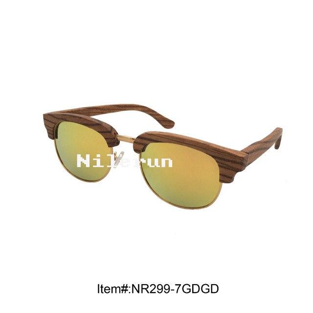 5047f1c19dc UV400 polarizing anti-reflective mirror gold lens gold metal rim zebra wood  frame sunglasses