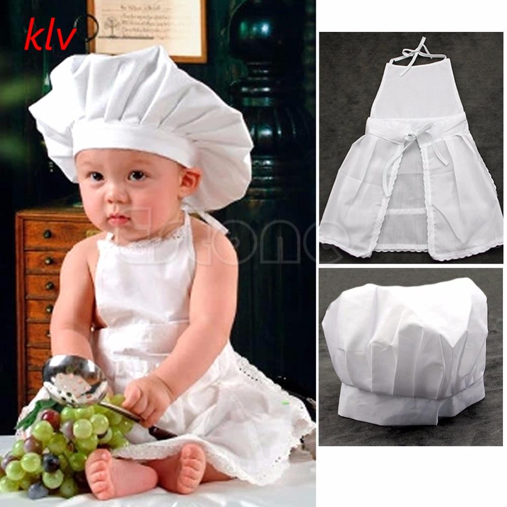 KLV Cute White Cook Costume Photos Photography Prop Child Hat Apron Boys Chef Restaurant Waitress Uniforms