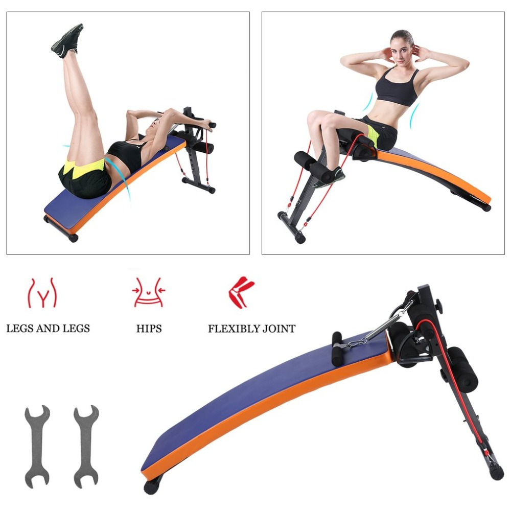 Easy To Assemble Gradual Adjustment Abdominal Ab Bench Train Crunch Sit Up Training Gym Weight Curved Board