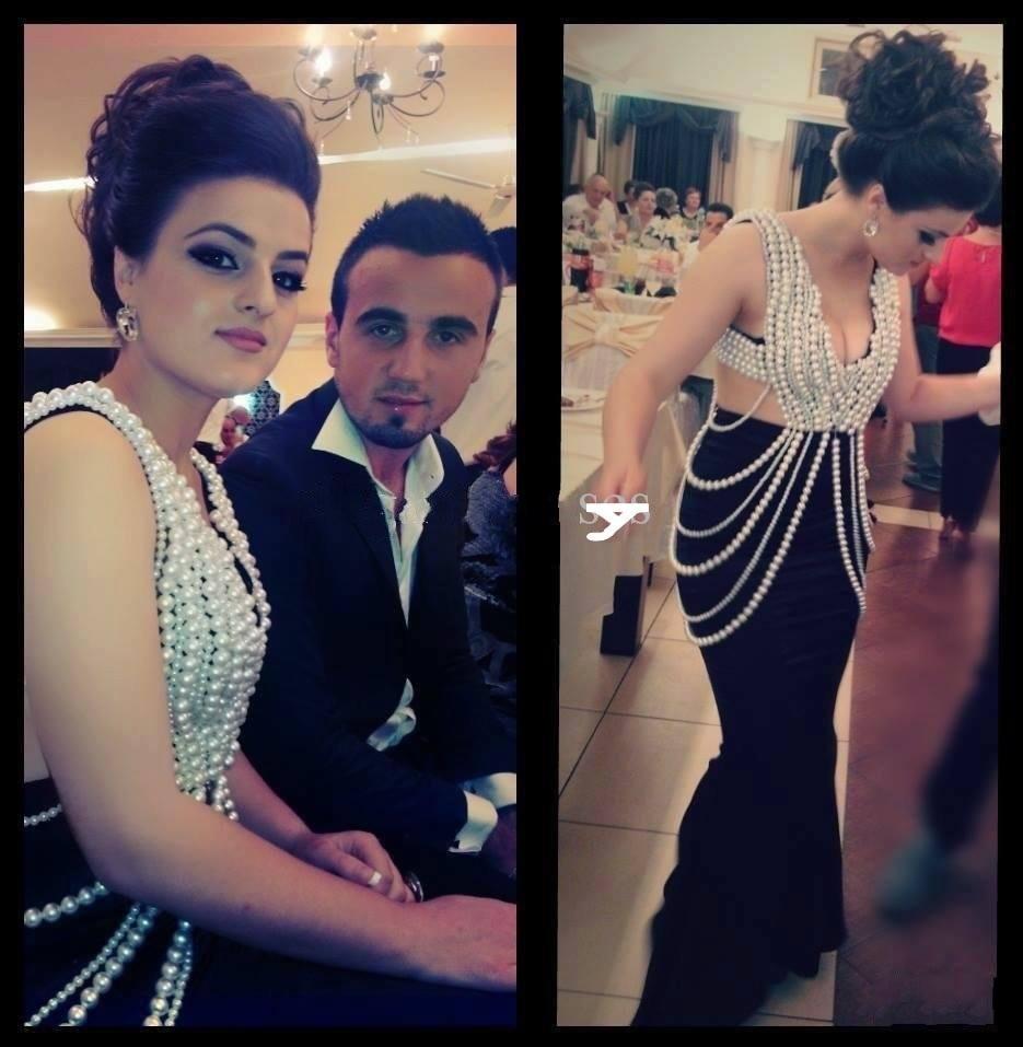 Sexy Evening Dress 2019 Beading Pearls Long Black Mermaid Sexy Arabic Dubai Kaftan V Neck Pearls Prom Dresses New Arrival