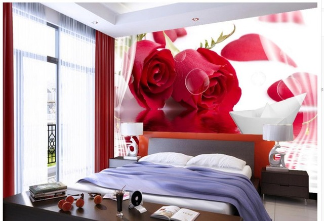 Rote Rose Wasser Reflection Paper Boot 3D Angepasst Wallpaper Für Wände Tapete  Moderne Dekoration