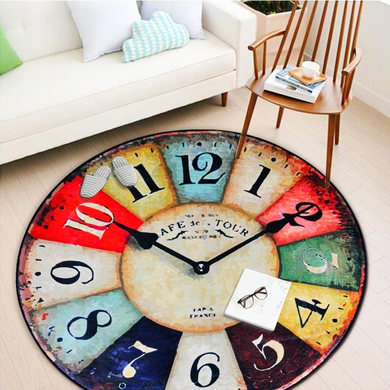 Thicken Round Carpet Vintage Wall Clock Printed
