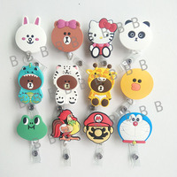 12pcs New Arrival High Quality Brown Bear Cute Cartoon Retractable Reel For Bus Credit Card Holder