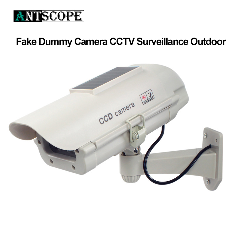 Antscope Solar Power Fake Dummy Camera CCTV Surveillance Outdoor Indoor Waterproof Flashing Red LED Fake Camera For Security yobangsecurity solar power led wireless ir surveillance dummy fake cctv security camera led flashing indoor outdoor