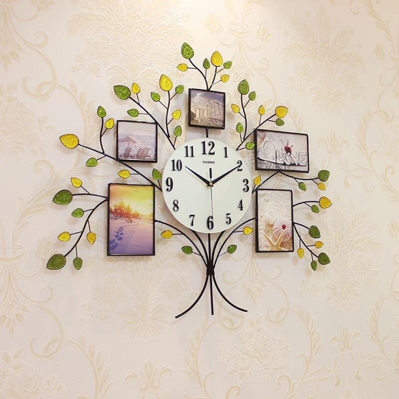Silent 3D Clock Simple Creative Photo Frame Tree Studded Living Room Wall Clock Home Clock Fashion Decorative Quartz Clock Heat