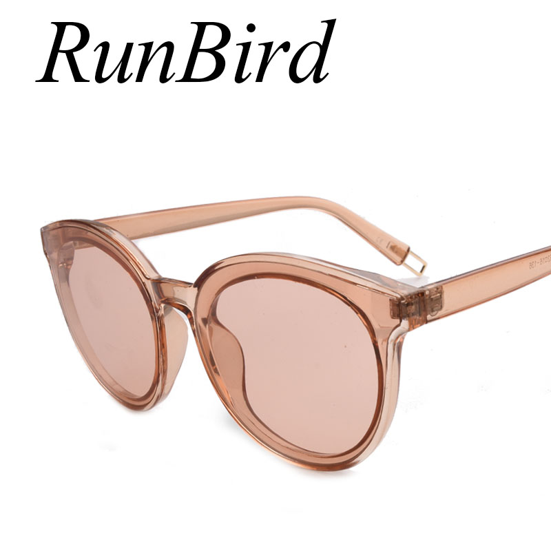 RunBird Vogue Candy Color Cat Eye Sunglasses Women Fashion Rimless Clear Sun Glasses Female Integrated Shades UV400 737R