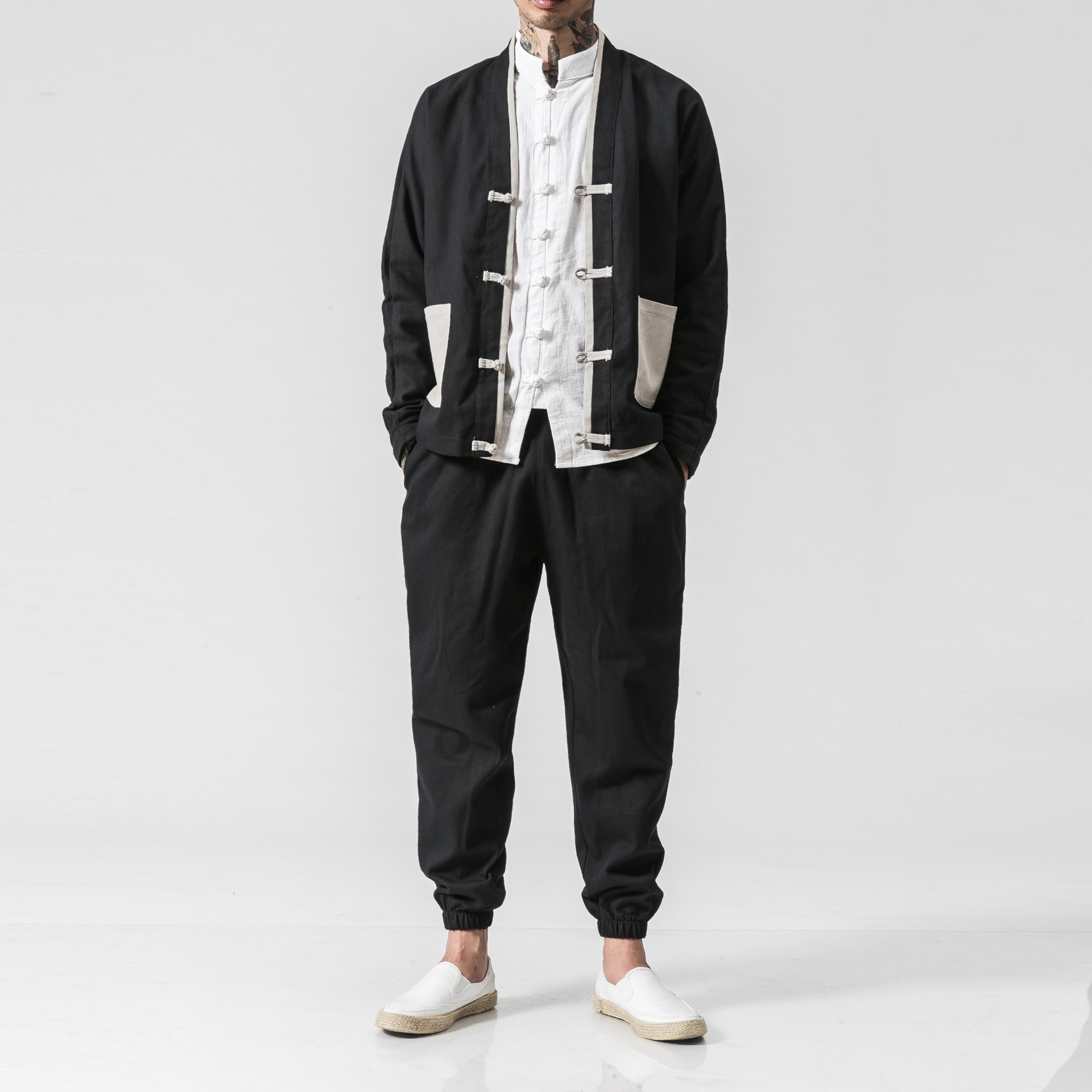 Marka męska Kung Fu garnitur jesień wiosna garnitur nowy chiński styl Wu Shu spódnica i spodnie bawełniane zestawy 2 sztuk ustawia dres M 5XL w Zestawy męskie od Odzież męska na AliExpress - 11.11_Double 11Singles' Day 1