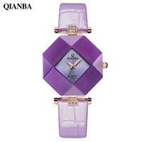 High Quality New Original Casual Fashion Hot Brand QIANBA Violet Blue Female Ladies Waterproof Purple Quartz