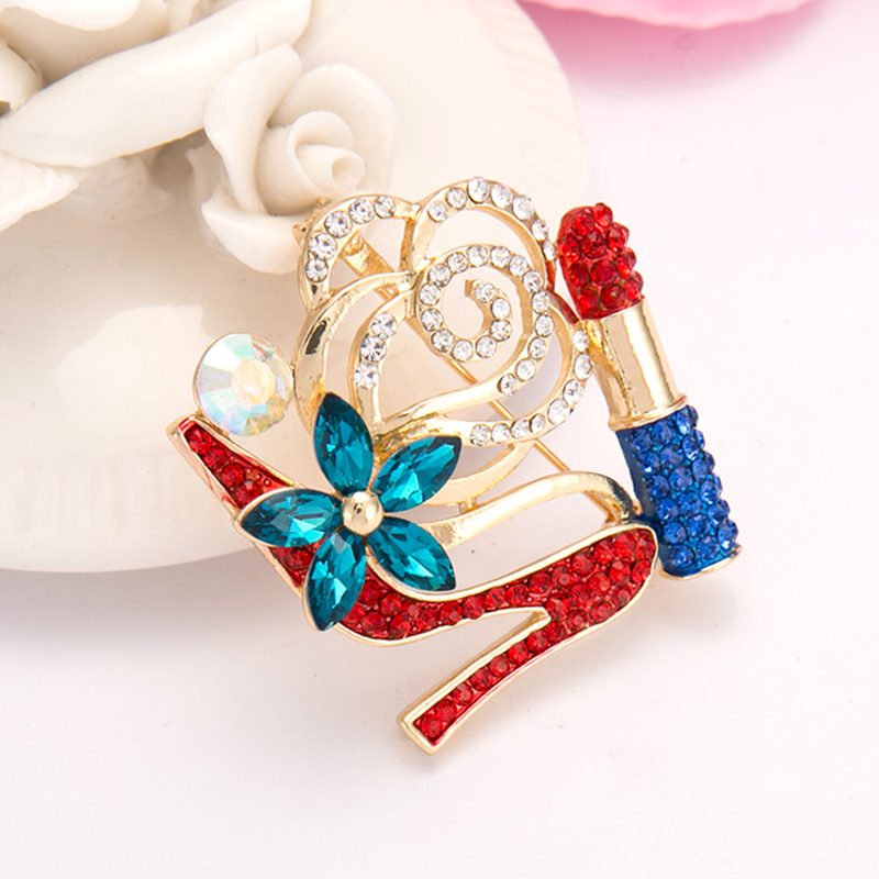 Perfect SUTEYI Crystal High Heel Shoes Lipstick Brooches Charms Women Wedding Brooch  Collar Hijab Pin Up Islam Muslim Broach Jewelry  In Brooches From Jewelry  ...