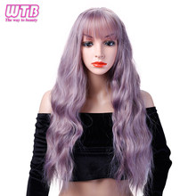 "WTB 26"" Heat Resistant Synthetic Kinky Curly Wigs for Women African American Long Wavy Curly Blue Purple Wigs(China)"