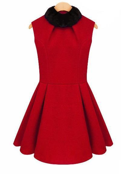 Autumn Winter Women Slim Woolen Dress Skater Detachable Fur Collar Sleeveless Vest Dresses New 2013 Red Wool Mini Dress AW13D016