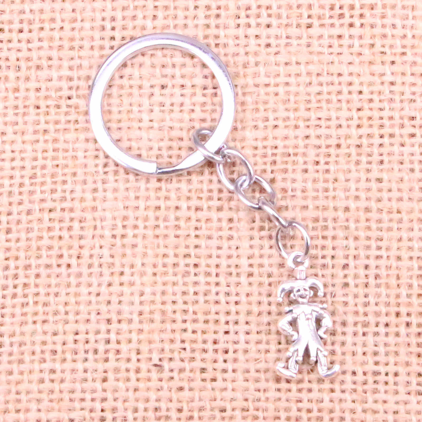 Car Key wisiorek obrączka srebrny kolor Metal breloczki akcesoria hurtownia, Vintage clown joker jester brelok