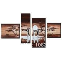 Ручная роспись маслом стены искусства Африки луга олень украшение ландшафта подставил Холст Картина маслом 4 шт./компл. mixorde