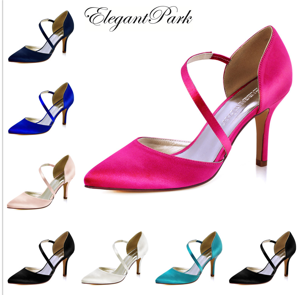HC1711 Shoes Woman Wedding Bridal Hot Pink High Heel Pointy Strap Satin Lady Bridesmaid Evening Party Pumps Teal Turquoise Black