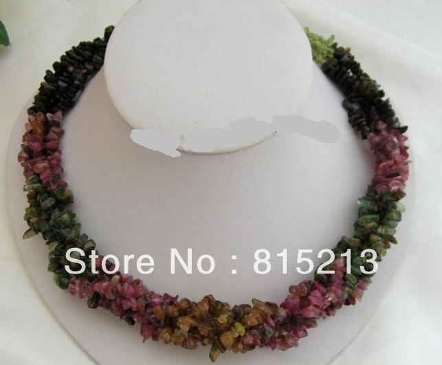 LIVRAISON GRATUITE >>>@@> N233 WOW classique 8 brins naturel rouge tourmaline vert péridot collier