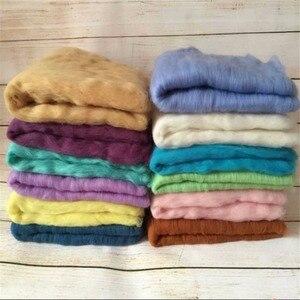 Image 4 - 20 צבעים 60*60cm פלאפי צמר צמר יילוד שמיכת סל מילוי Stuffer יילוד צילום Props סופר רך תינוקות שמיכות